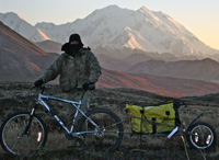 This renter rented a GT and a BOB and rode them deep into Denali National Park in late September. He had such a great time he emailed this picture with Denali in the background.