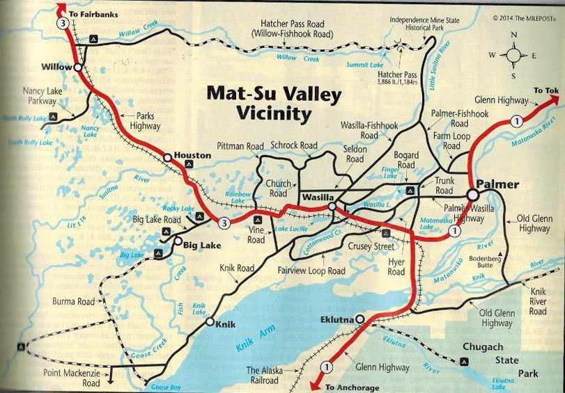 Palmer Wasilla Route Map for Alaska Bike Trips
