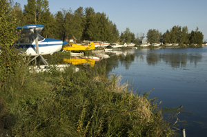 Some people rent bikes, ride them to the float plane base, and then go flightseeing.
